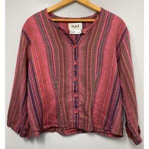 FLAX 100% Linen Button Down Long Sleeve Top